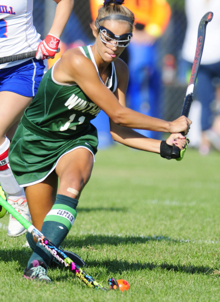 Winthrop's Kinli DiBiase goes after the ball during a game against Oak Hill on Monday in Litchfield.