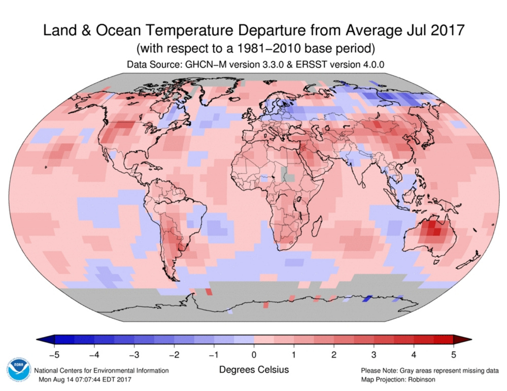 Temperature changes around the world are being recorded by the National Oceanic and Atmospheric Administration.