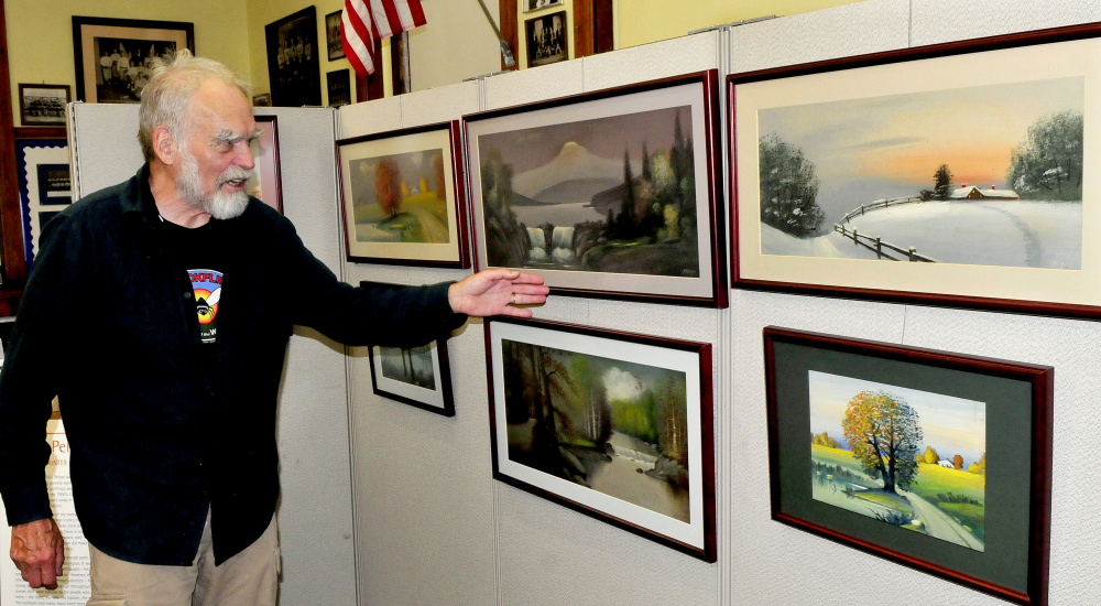 Artist Abbott Meader on Wednesday discusses art by Willis Pelton, who lived in Starks in the late 1800s. Pelton's work will be part of a show from 10 a.m. to 3 p.m. on September 16 at the Old Point Avenue School in Madison.