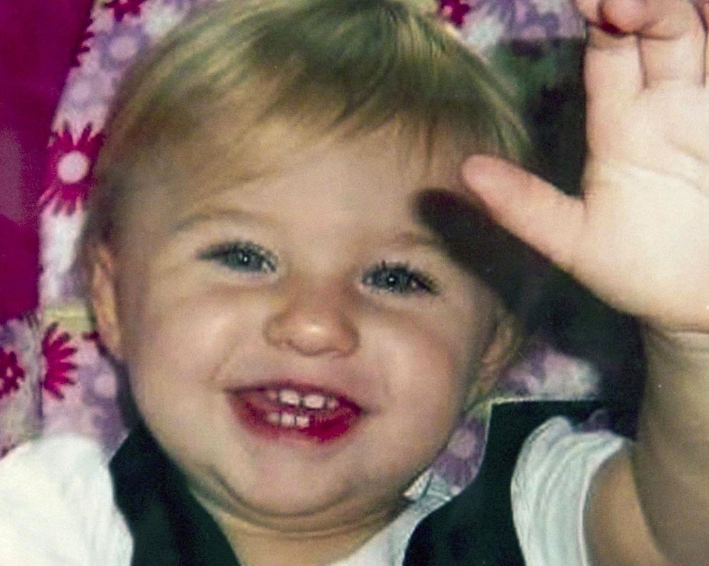This undated photo provided by Trista Reynolds shows Ayla Reynolds, her 20-month-old daughter who was reported missing on Dec. 17, 2011, from the home where her father was living in Waterville. Reynolds is seeking a formal court declaration that Ayla is dead so a wrongful death lawsuit can be pursued against Ayla's father, Justin DiPietro.
