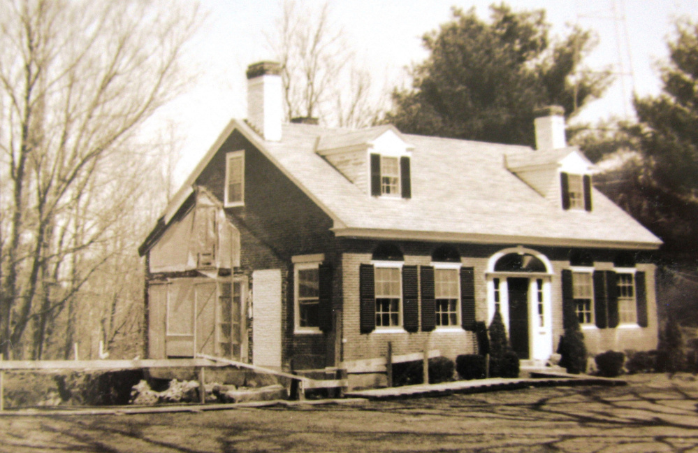 This brick house on Nickerson Hill Road in Readfield formerly served as home to four generations of the Saunders family, founders of Saunders Manufacturing. In the 1960s, when this photo was taken, A.H. and Edith Saunders made significant changes. Later it was converted to office and conference space for Saunders Manufacturing. The property was homesteaded about 1805 by Samuel Whitney, a Revolutionary War veteran. In 1818 it was purchased by Dudley Hains II, who it is believed, had the brick house built circa 1825. His son, Dudley III, sold it to Hiram R. Nickerson in 1905, whose son sold it to A.L. and Sarah Saunders in 1945.