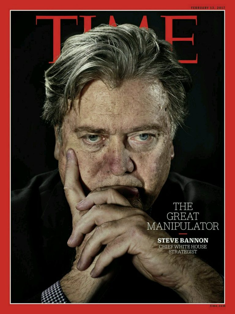 Earlier this year, Time Magazine published a cover that featured former chief White House strategist Steve Bannon.