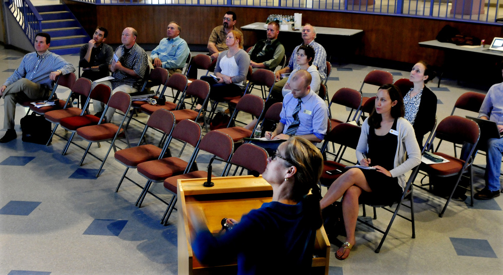 Sue Jones, president of Community Energy Partners, discusses renewable energy options for rural small businesses and agricultural producers Wednesday at Colby College in Waterville.