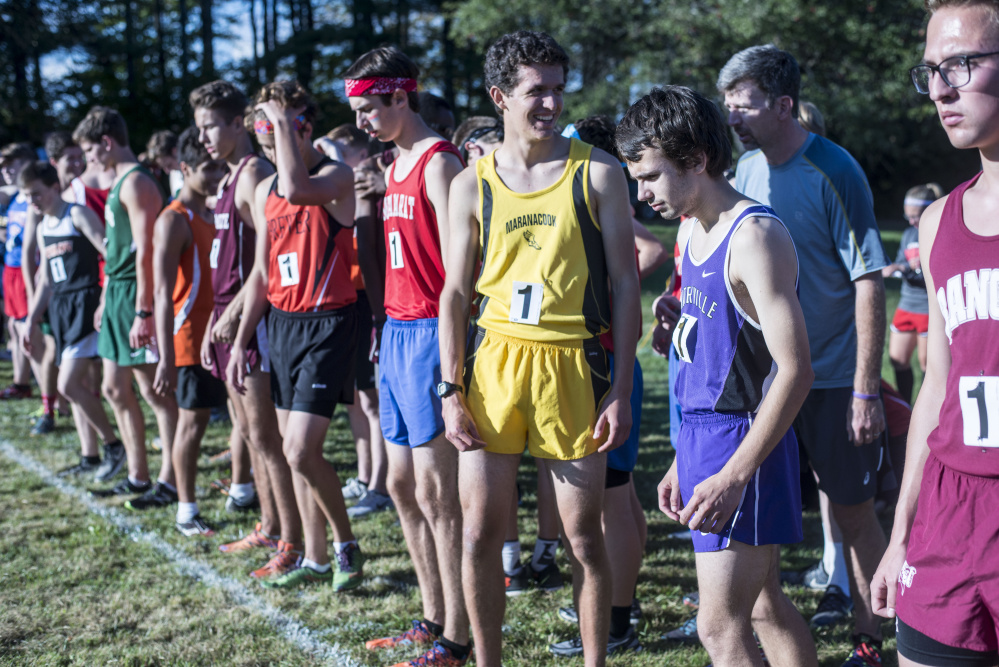 Runners from around the state gather at the starting line Friday at the annual Mt. Blue Relays in Farmington.