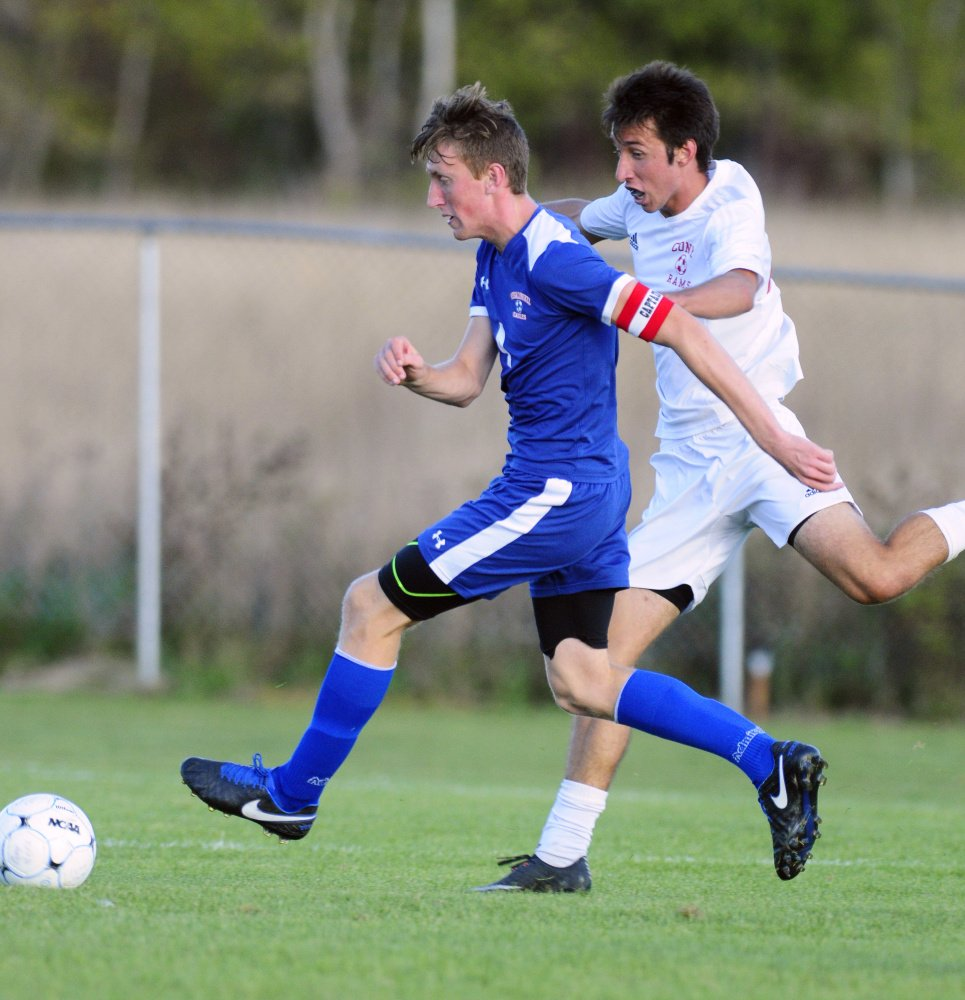 Cony's Vlastimil Horaki chases after a ball during a Class A North game last Friday against Messalonskee in Augusta.