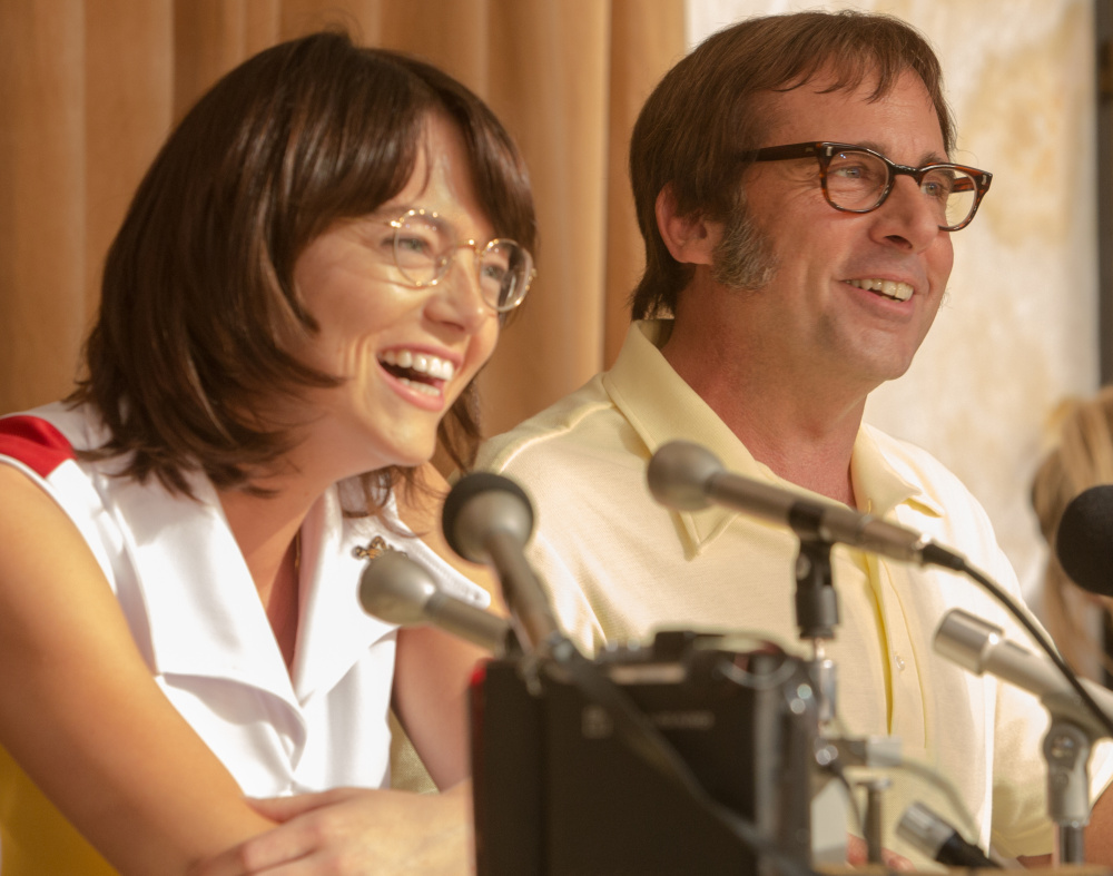 Emma Stone as Billie Jean King and Steve Carell as Bobby Riggs in