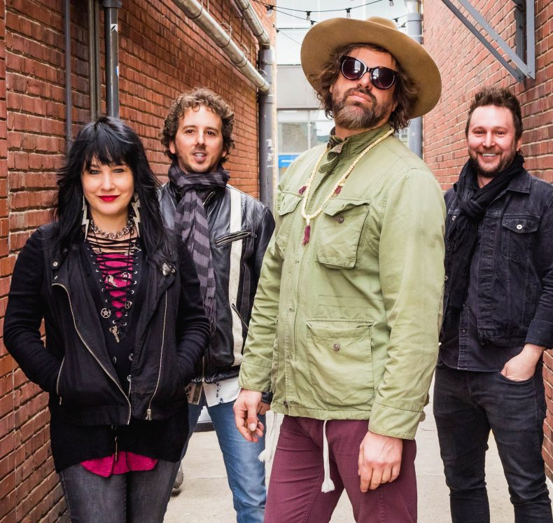 The Rusted Root, from left, are Liz Berlin, Zil, Michael Glabicki and Dirk Miller. Missing from photo is Bobby Schneck Jr. The group will perform at 7:30 p.m. Oct. 17 at the Waterville Opera House.