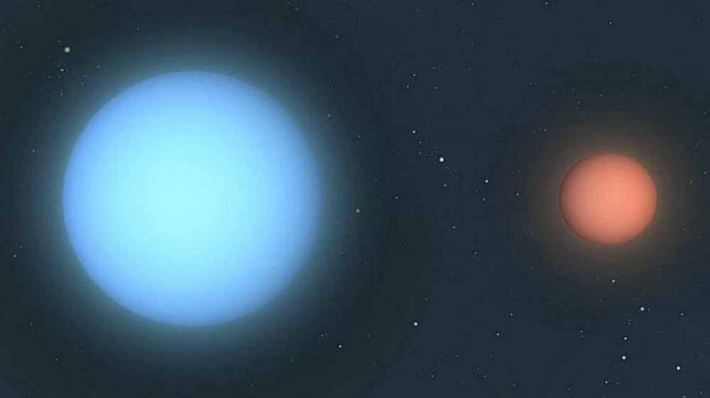 Artist's depiction of eclipsing binary star system Algol.