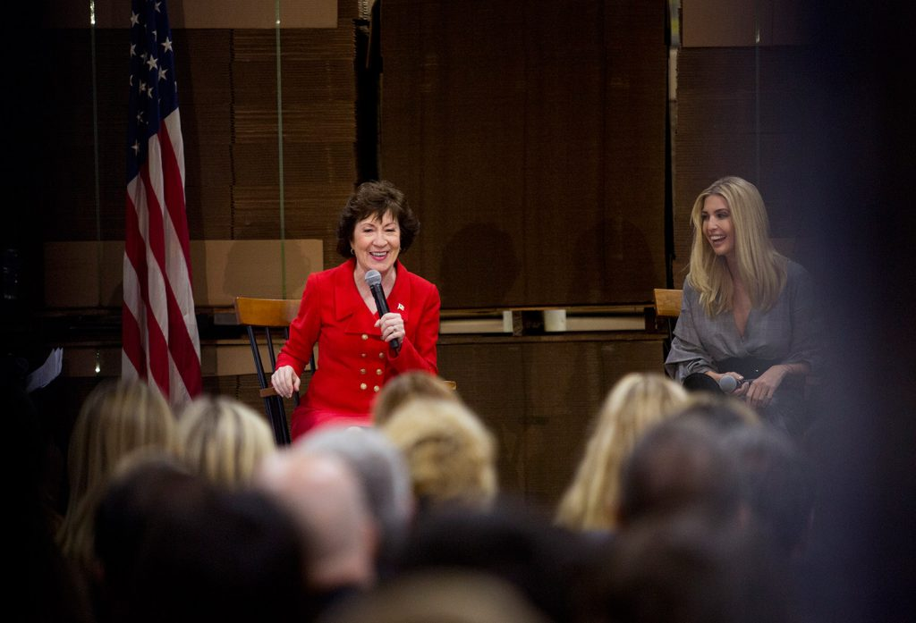 Maine Sen. Susan Collins, left, and Ivanka Trump participate in a panel discussion, which also featured U.S. Treasurer Jovita Carranza, who is not shown, about the Republican tax reform plan, at Volk Packaging Corp. in Biddeford on Friday.