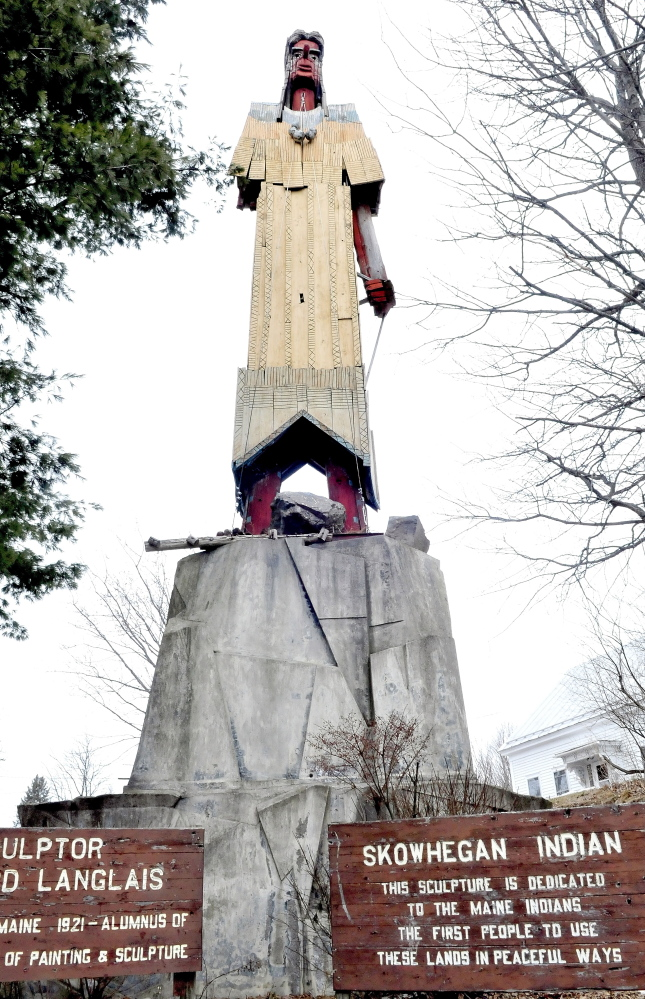 The Skowhegan Indian landmark sculpture in downtown, made by artist Bernard Langlais, is owned by the Skowhegan Area Chamber of Commerce.