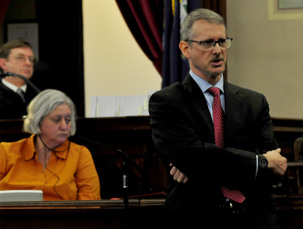 Defense attorney Christopher MacLean addresses the jury last week in Waldo County Superior Court in Belfast during the start of Miranda Hopkins' manslaughter trial in the death of her son Jaxson. At left is Justice Robert Murray. The jury found Hopkins guilty Tuesday night.