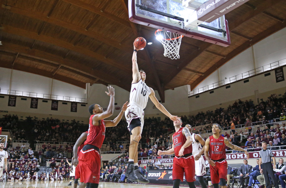 Eastern Kentucky forward Nick Mayo has been hailed as one of the top players in the Ohio Valley Conference. The Messalonskee graduate averaged 18.5 points a game for Colonels last season.