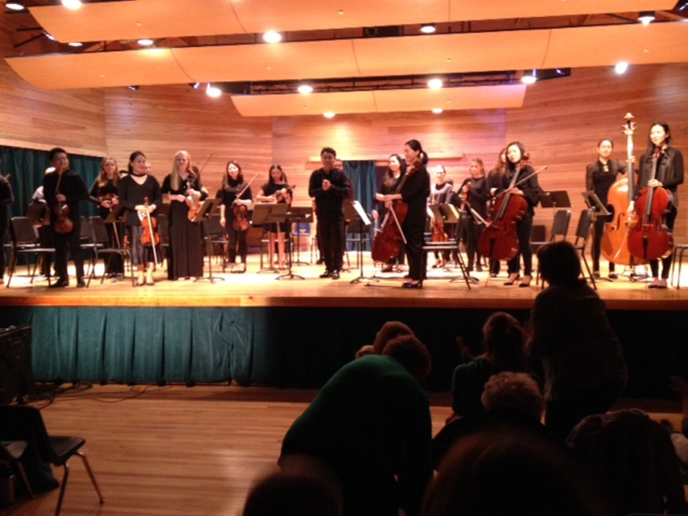 The Philharmonia Boston Orchestra and students from the Snow Pond Youth Symphony and Maine Suzuki Association receive a standing ovation Nov. 4 at the Snow Pond Center for the Arts in Sidney following a performance of Wolfgang Amadeus Mozart's Divertimento No. 1 in D Major,