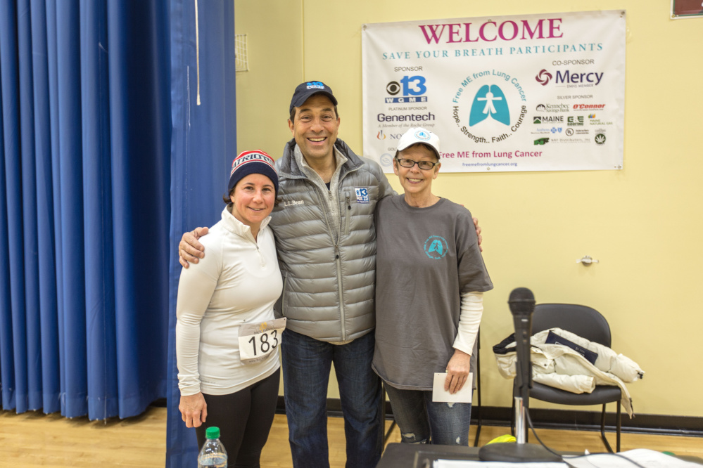 Race participant Karen Boston, Sports Director WGME Channel 13 Dave Eid and Deb Violette, president and CEO of Free ME from Lung Cancer.