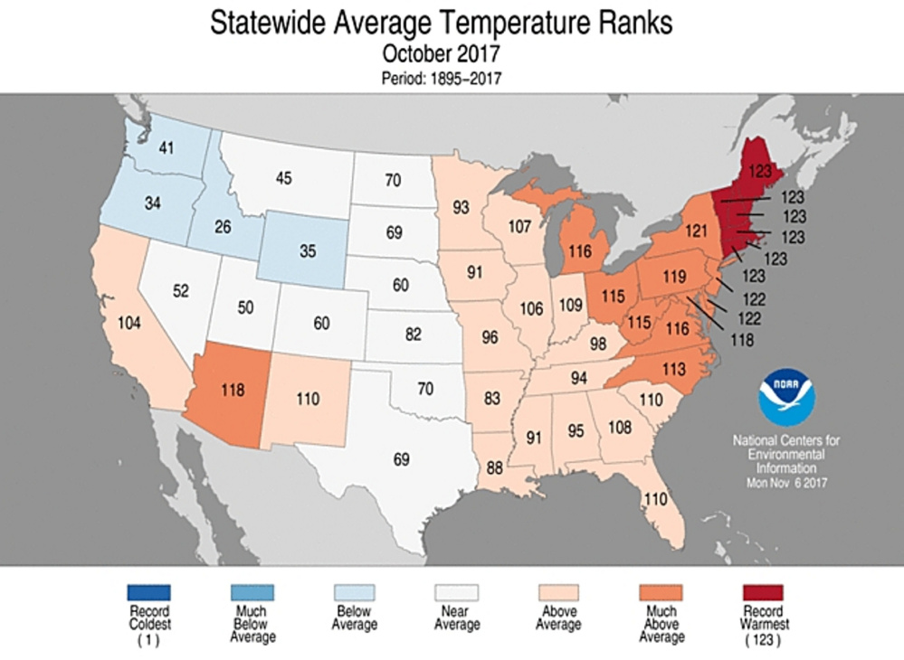 Statewide average temperature rankings for October
