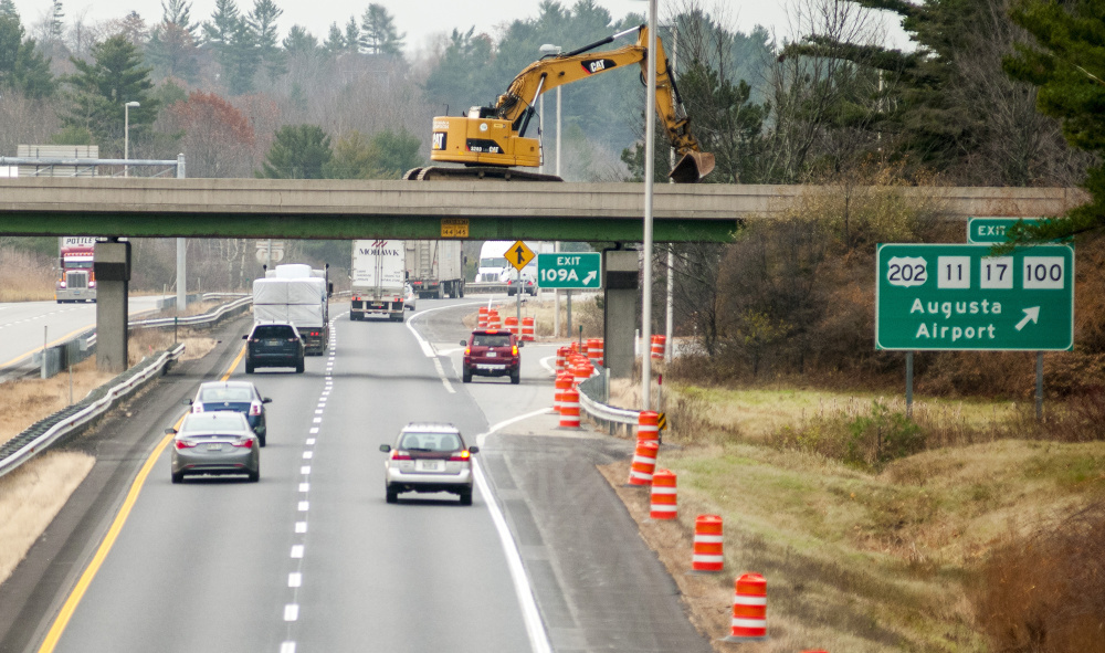 The Interstate 95 Exit 109A is re-routed onto Whitten Road on Wednesday while repairs continue to the bridge in Augusta.