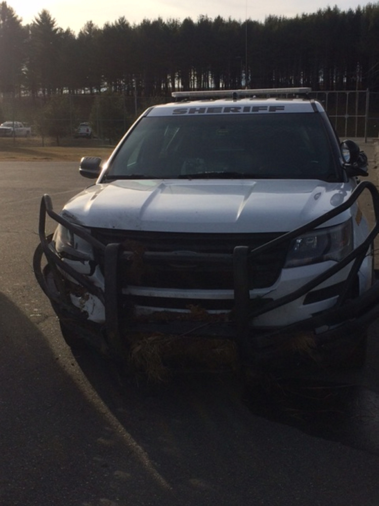 A Somerset County deputy's cruiser was damaged early Thursday after it slid off the road and into a ditch in Madison. Deputy Lucas Libby, who was diving, was checked out at a local hospital as a precation. The cruiser was inoperable and had to be towed.