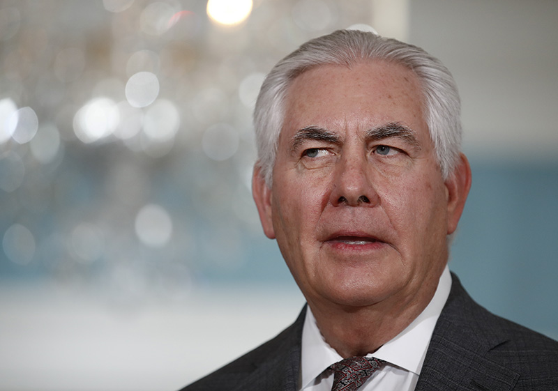Secretary of State Rex Tillerson speaks to news media before a meeting with Qatari Foreign Minister Sheikh Mohammed bin Abdulrahman Al Thanil at the State Department in Washington on Nov. 20.