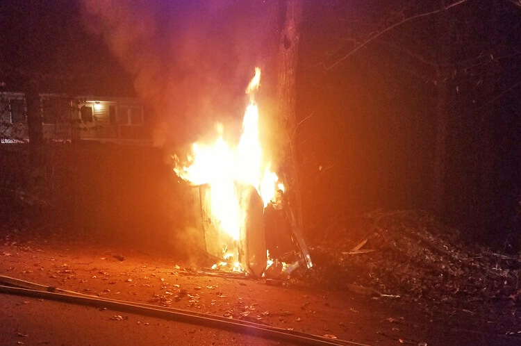 Alicia Szostak-White's Toyota Rav4 went off Route 35 in Naples just after midnight Tuesday when she swerved to avoid a deer and lost control. Her vehicle smashed into a tree before tipping onto its side and catching fire.