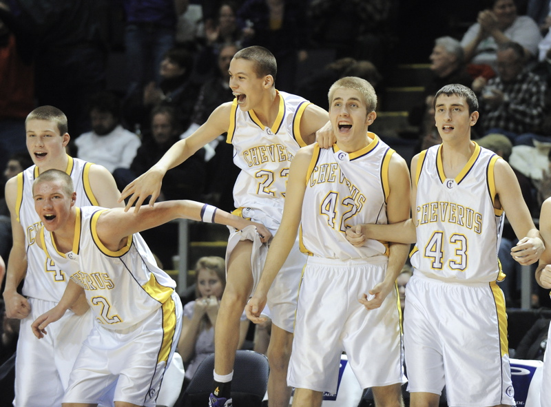 With the game almost over and victory seconds away, the Cheverus bench was a place for celebration. The top-ranked Stags beat second-seeded Westbrook 56-46 at the Cumberland County Civic Center and will play Edward Little for the state title.