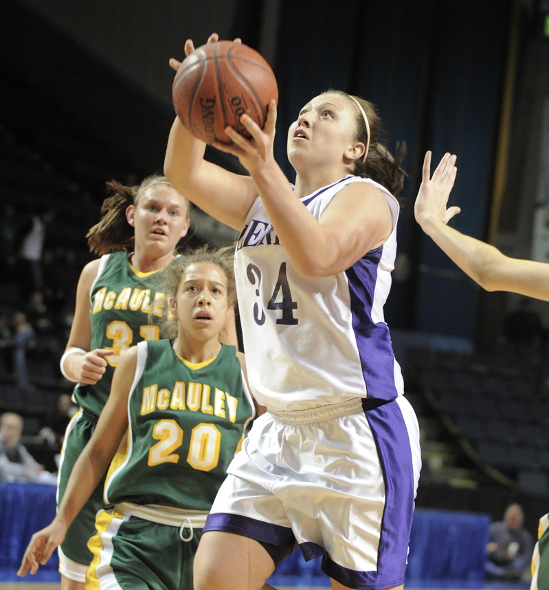 Claire Ramonas of Deering heads to the basket during a 45-35 come-from-behind victory over McAuley in a Western Class A semifinal at the Civic Center.