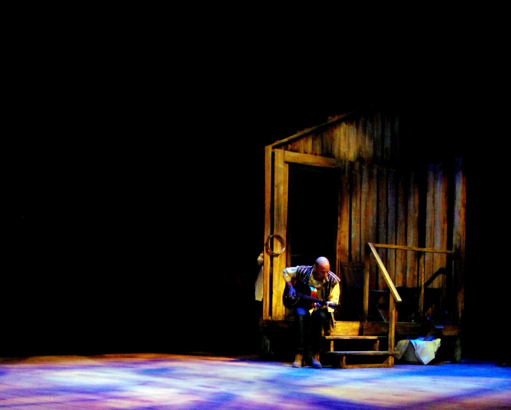 """Maine native and Portland musician Samuel James is Guitar Man in the Penobscot Theatre production of """"Spunk."""""""
