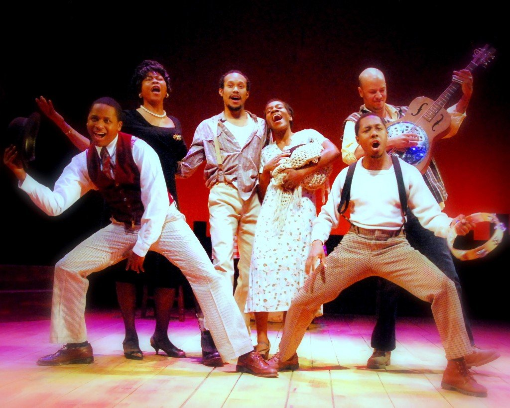 """The company of """"Spunk,"""" from left: Alan Tyson, Chavez Ravine, Jonathan McCrory, Angie Browne, Eric Lockley and Samuel James. The show, running through March 7 at the Bangor Opera House, is a musical exploration of the black experience in the early 20th century."""