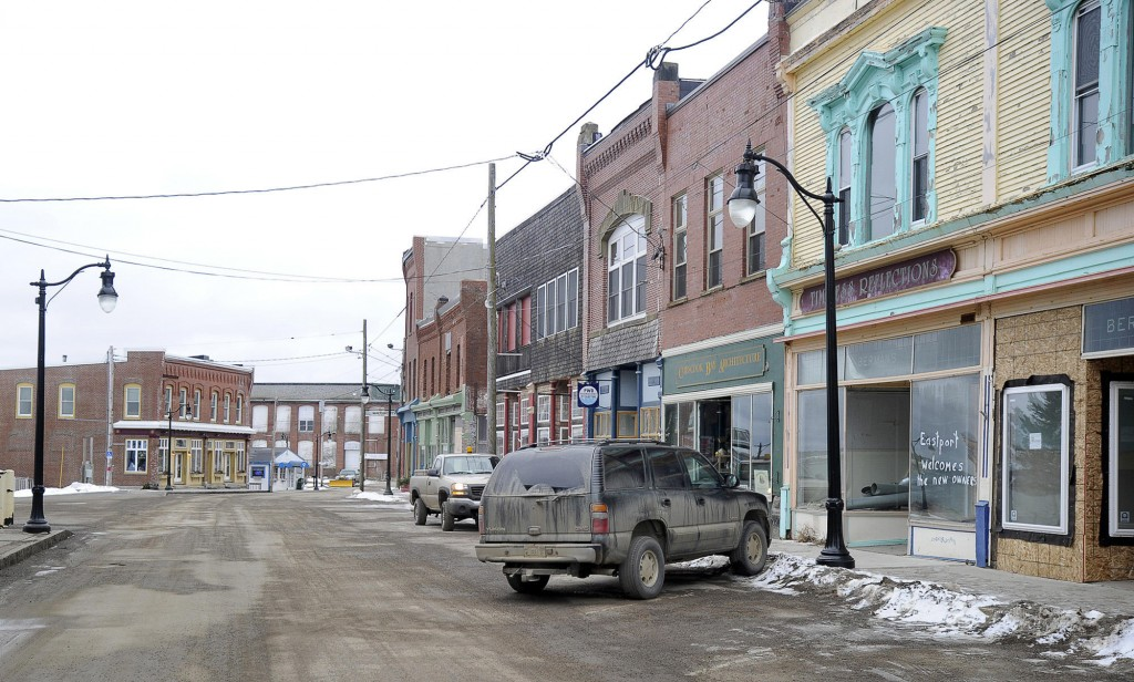 Winter exposes a harsh economic reality in Eastport, with vacant storefronts and shuttered seasonal businesses. The jobless rate in the area hit 17 percent last year due to a mill closure.