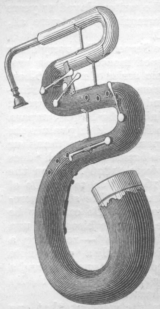 The modern tuba is a a descendant of the serpent, a bass horn invented sometime in the 16th century.