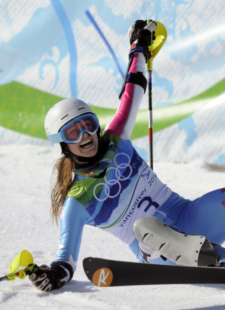 The Associated Press Julia Mancuso had a moment of 'pure joy' Thursday, falling to the snow to celebrate her silver medal in the super combined event.