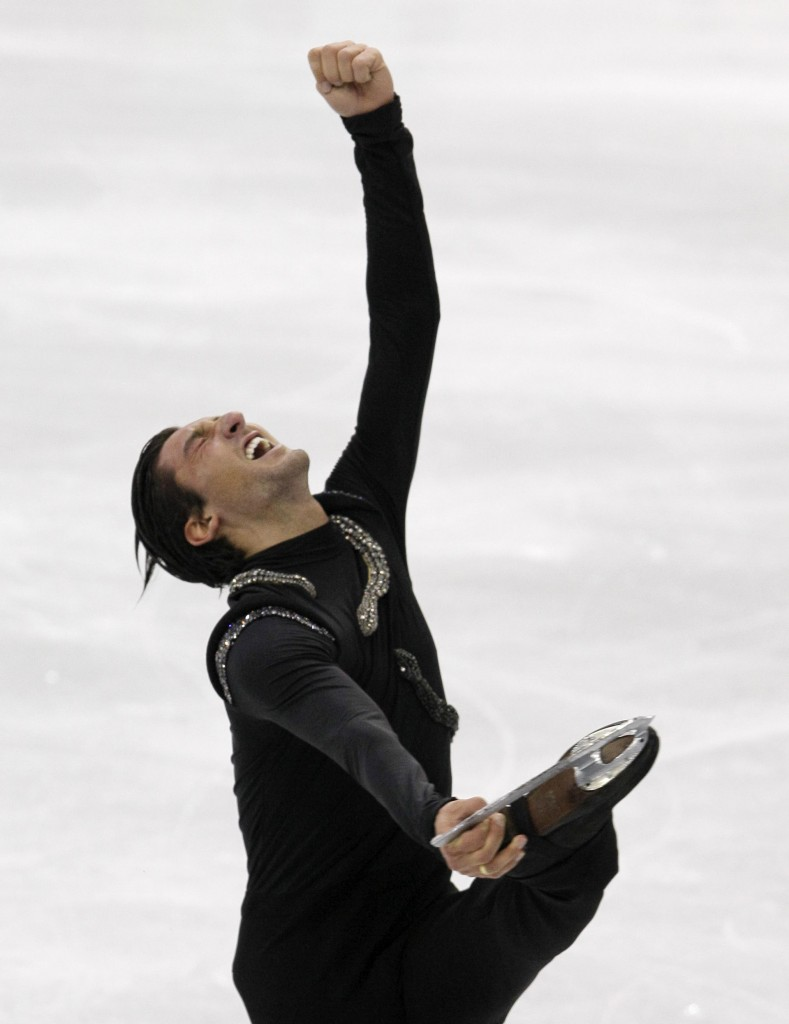 USA's Evan Lysacek performs his free program during the men's figure skating competition at the Vancouver 2010 Olympics in Vancouver, British Columbia, Thursday, Feb. 18, 2010. (AP Photo/Amy Sancetta)