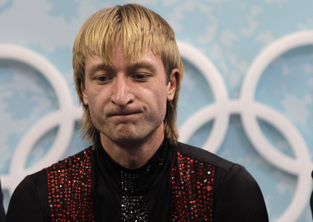 Russia's Evgeni Plushenko is see as he waits for his scores following his free program during the men's figure skating competition at the Vancouver 2010 Olympics in Vancouver, British Columbia, Thursday, Feb. 18, 2010. (AP Photo/David J. Phillip)