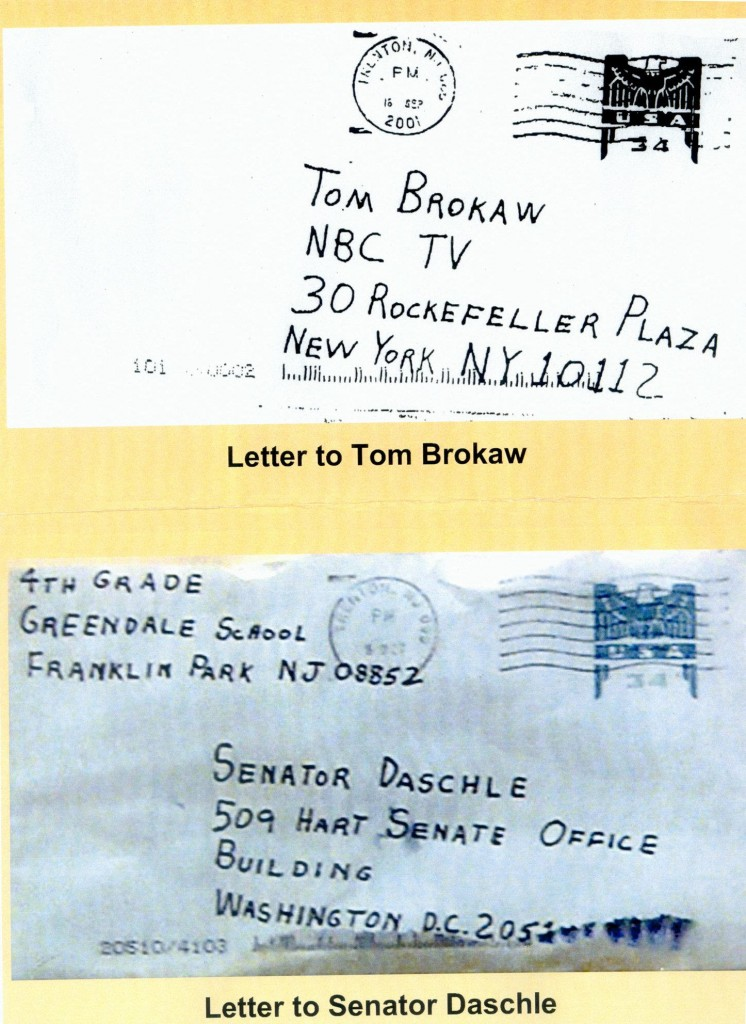 Photos of envelopes that contained letters and anthrax spores sent to NBC's Tom Brokaw and Senate Majority Leader Tom Daschle, D-S.D.
