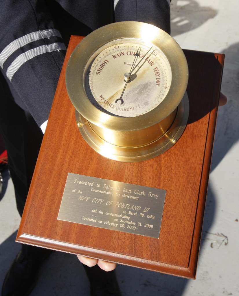 This refurbished barometer is from the City of Portland III fireboat, which will be decommissioned and put up for sale later this year.