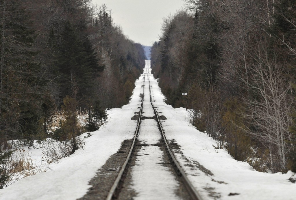 The track owned by the Montreal, Maine & Atlantic Railway is seen from the crossing at Route 159 in Crystal, Maine.