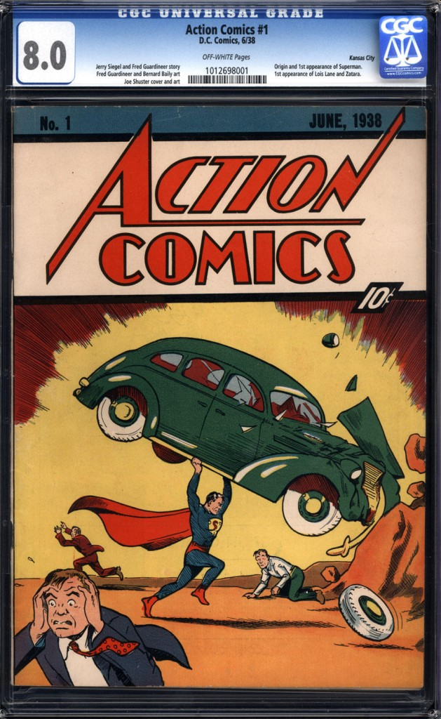 This image, released by Comic Connect Corp., shows the June 1938 cover of a comic book that first featured Superman. The copy fetched $1 million Monday, smashing the previous record price for a comic book .