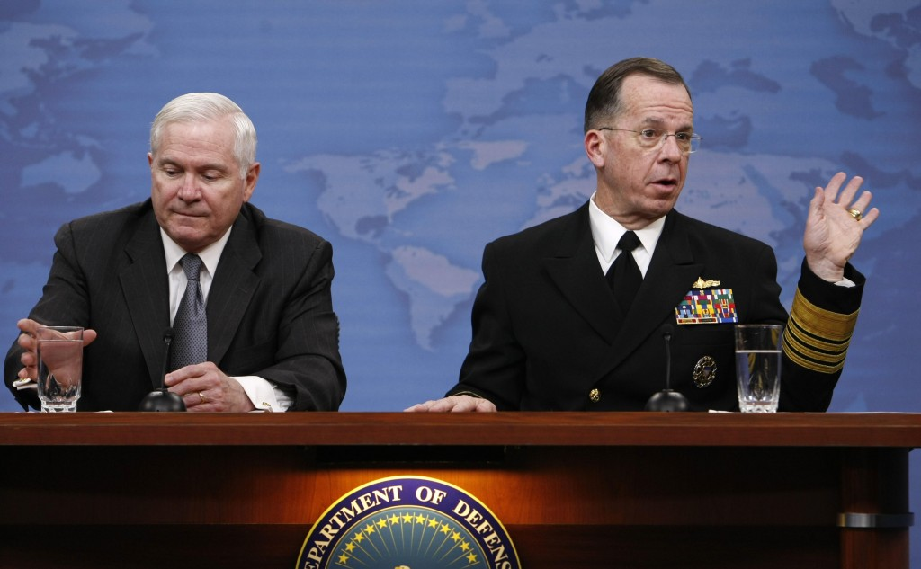 Defense Secretary Robert Gates, left, and Joint Chiefs Chairman Adm. Mike Mullen take part in a briefing at the Pentagon on Monday. They said U.S.-led forces were making steady progress in their efforts in a Taliban stronghold in southern Afghanistan.