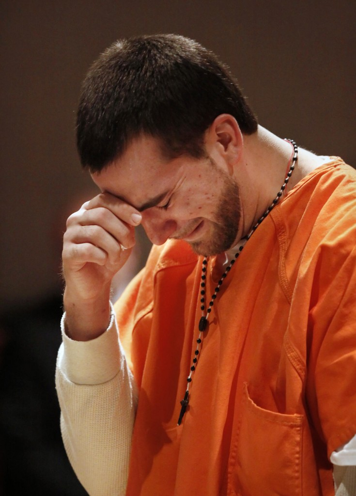 Brandon Brown is overcome with emotion as he addresses the court during sentencing for shooting a man in 2008.
