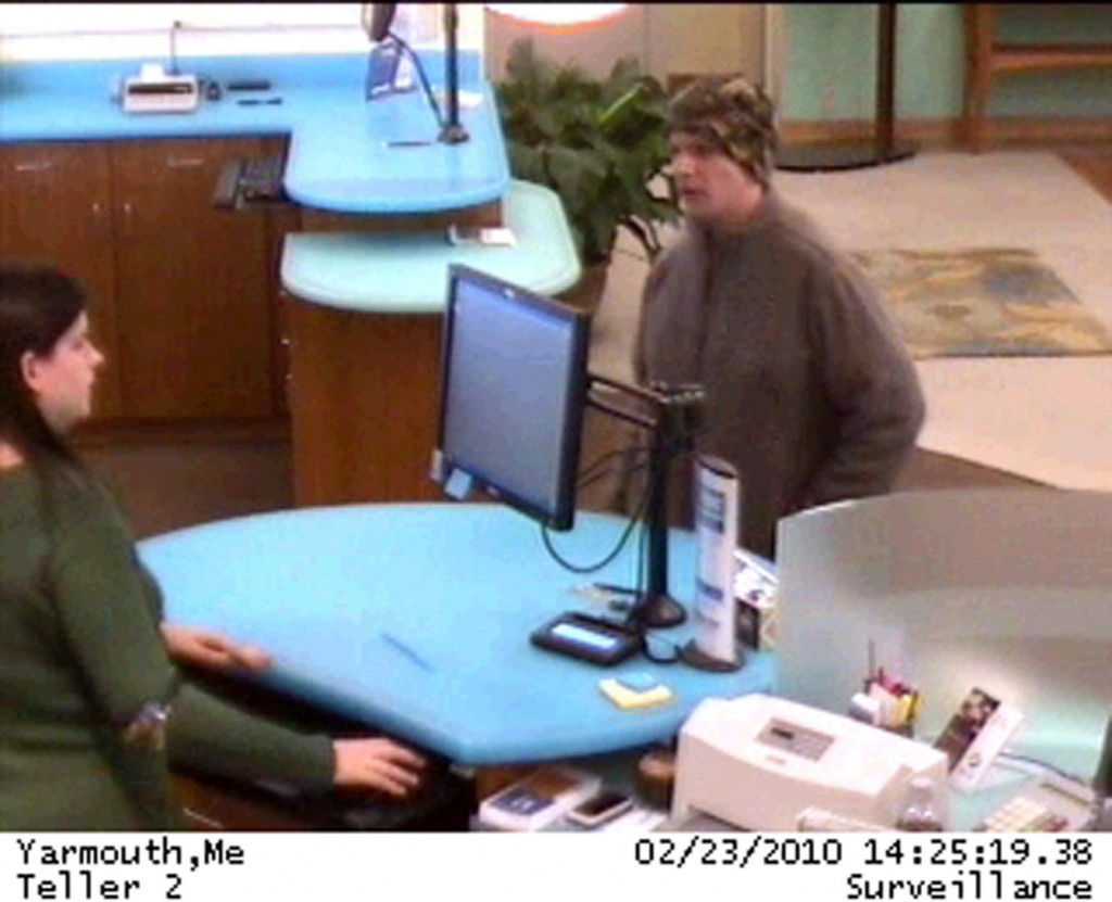 A security camera shows the suspect in an attempted robbery at a Norway Savings Bank on Route 1.