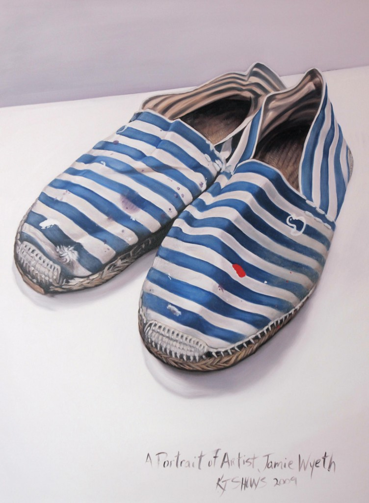 Artist Jamie Wyeth's shoes painted by Kennebunk artist Kelly Jo Shows.