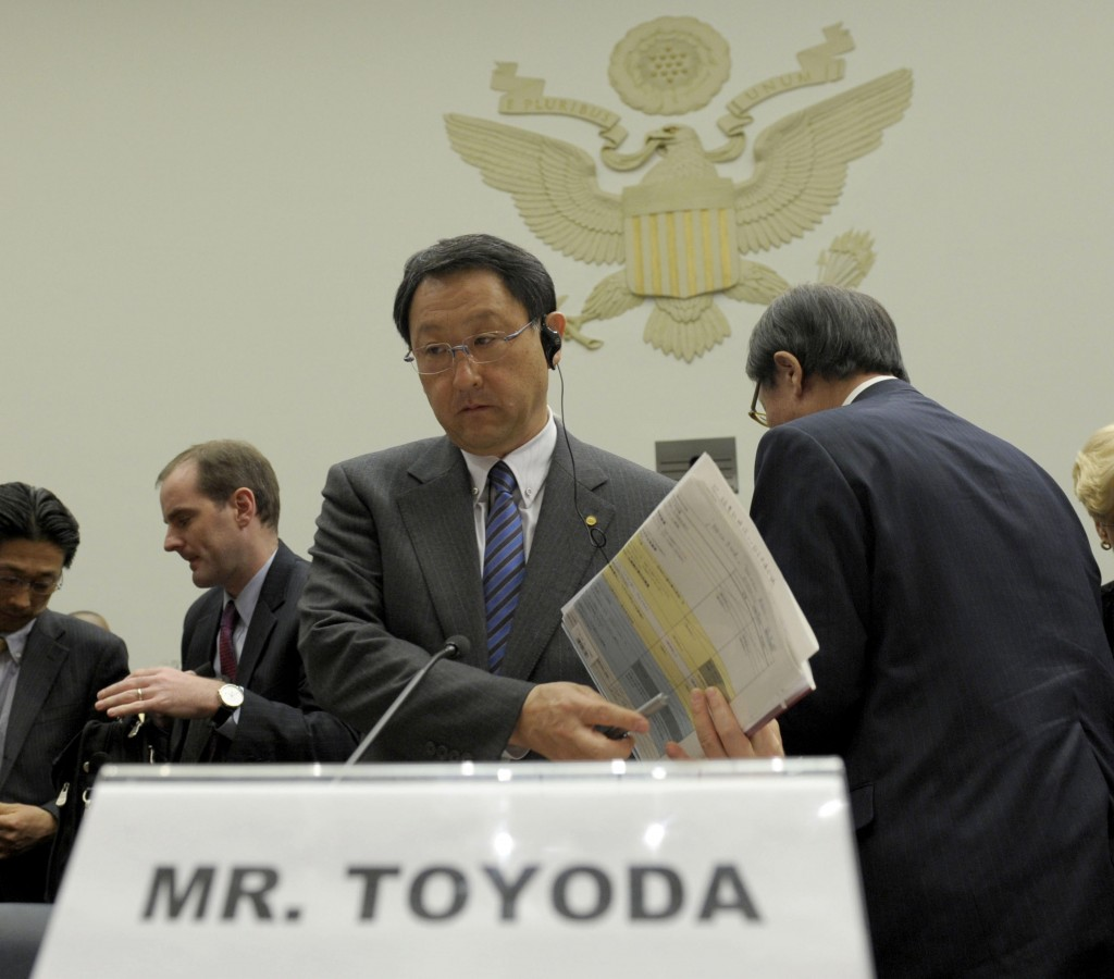 Toyota President and CEO Akio Toyoda concludes his testimony on Capitol Hill in Washington on Wednesday.