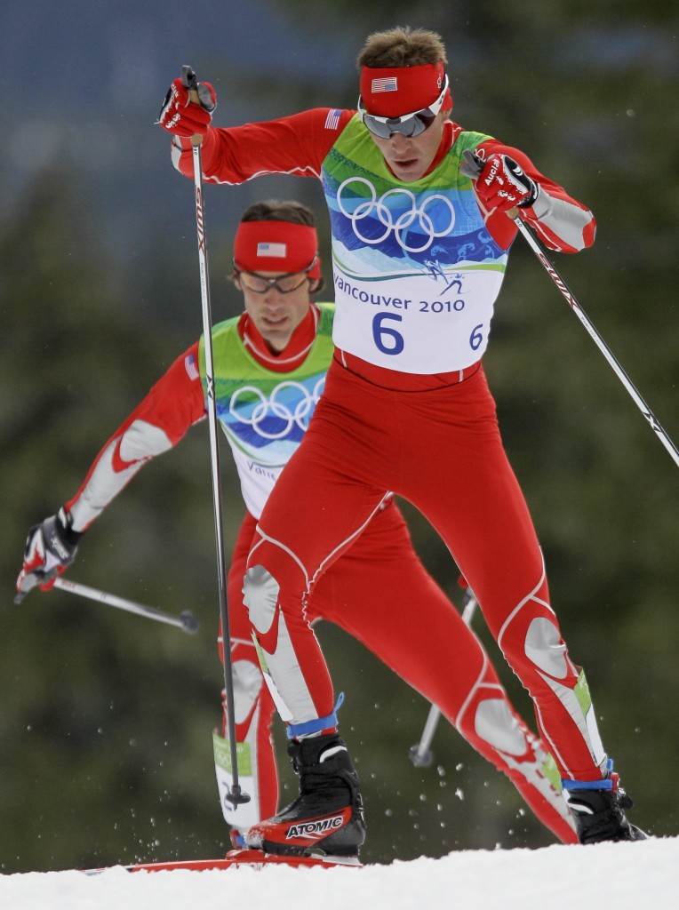 United States' gold medal winner Bill Demong, front and United States' silver medalist Johnny Spillane ski during Cross Country portion of the Men's Nordic Combined Individual event from the large hill at the Vancouver 2010 Olympics in Whistler, British Columbia, Canada, Thursday, Feb. 25, 2010. (AP Photo/Dmitry Lovetsky)