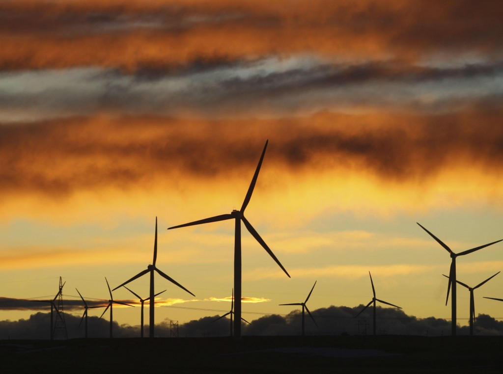 The Happy Jack Wind Farm east of Cheyenne, Wyo., generates power, but many other projects are on hold as the industry waits for a sign from Congress.