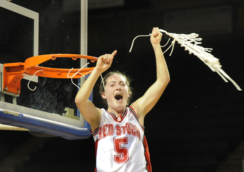 Brittany Ross twirls the net during Scarborough's victory celebration.