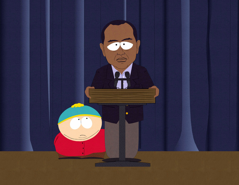 "Eric Cartman, left, and an animated version of golfer Tiger Woods are shown in a scene from the 14th season premiere of ""South Park."""