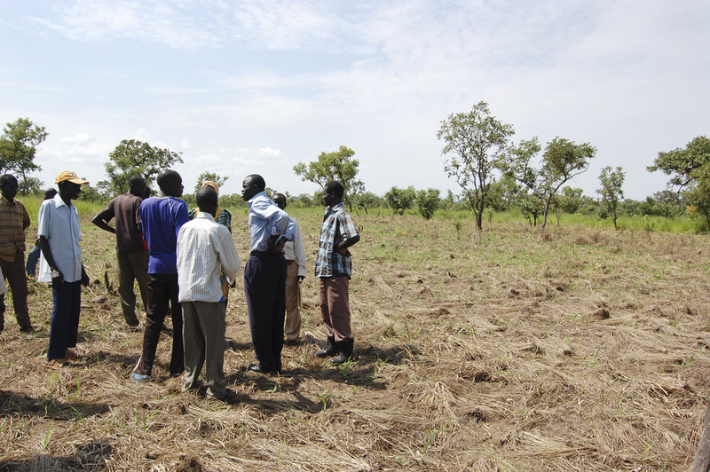 Alfred Jacob of Portland, third from right, speaks with local elders in southern Sudan at the site of a school being built with financial support from Sudanese immigrants and others in Maine. The photo was taken last summer, when Jacob traveled to Kit as the project got under way.