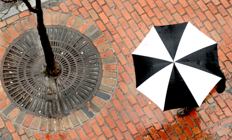 A soaking rain sets the scene Tuesday for this colorful contrast on Middle Street in Portland. A meteorologist with the National Weather Service in Gray said 2.38 inches of rain fell on the city, breaking a 60-year-old record for March 23, and 3.5 inches fell in parts of York County.