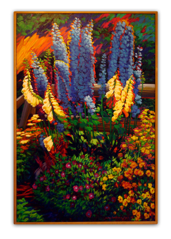 "Jaqua's oil-on-canvas ""August Garden,"" on display in ""Think Spring"" at the Wonderful Gallery in Freeport."