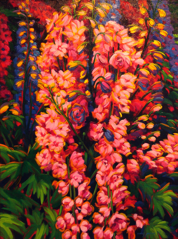 "Mary Louise Town Jaqua's oil-on-canvas ""Sunlit Delphineums,"" from ""Think Spring"" at the Wonderful Gallery in Freeport."