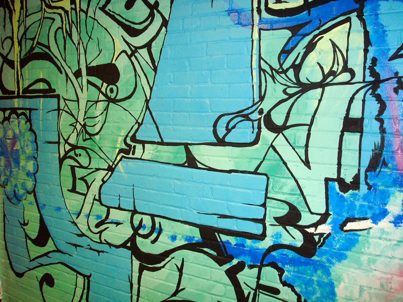 Detail of an untitled mural created by Pat Palmer on view at the Arm Factory.